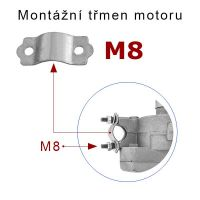 Plechový třmen uchycení motoru do rámu (třmen s otvory pro M8) na motokolo