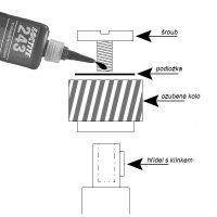 Pojistný šroub ozubeného kola výstupu z klikové hřídele pro motokolo
