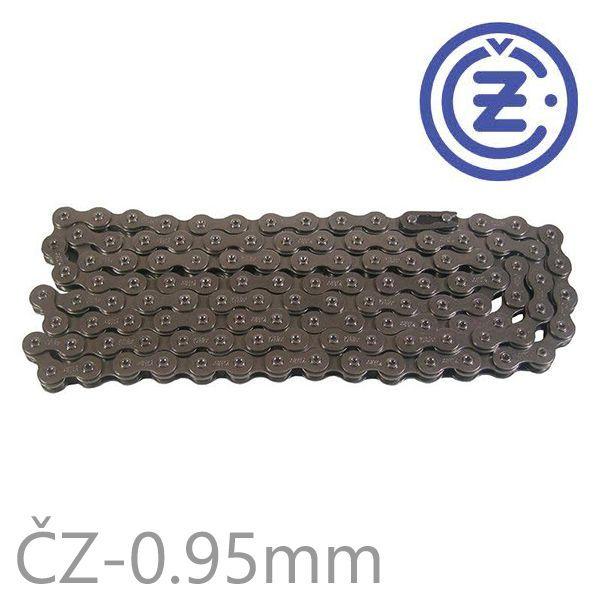 Řetěz ČZ STRAKONICE 116 článků boční destička 0,95mm LEHKÝ PEVNÝ (včetně spojky řetězu) pro motokolo